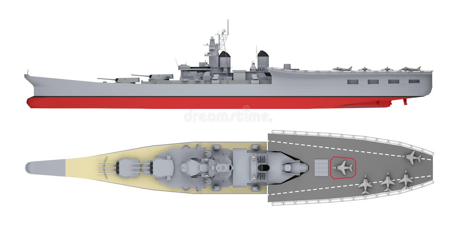 Aircraft carrier side and top view isolated on white. 3d rendering vector illustration