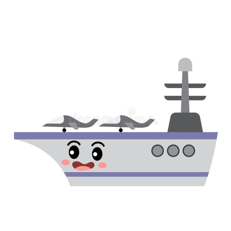 Free Aircraft Carrier Transportation Cartoon Character Side View Vector Illustration Stock Image - 188114751