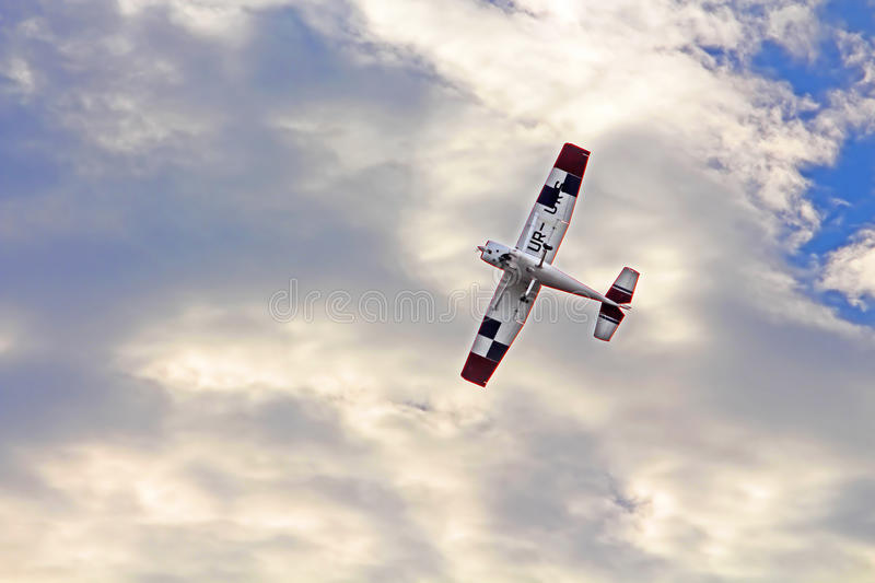 Aircraft Cessna 182 K Skylane UR-LUC by Mechanic-Avia. In the sky royalty free stock photography