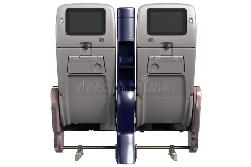 Aircraft chairs with screen, back view vector illustration