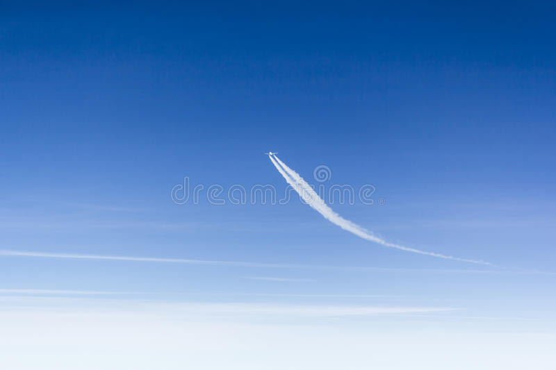 Aircraft changing course royalty free stock images