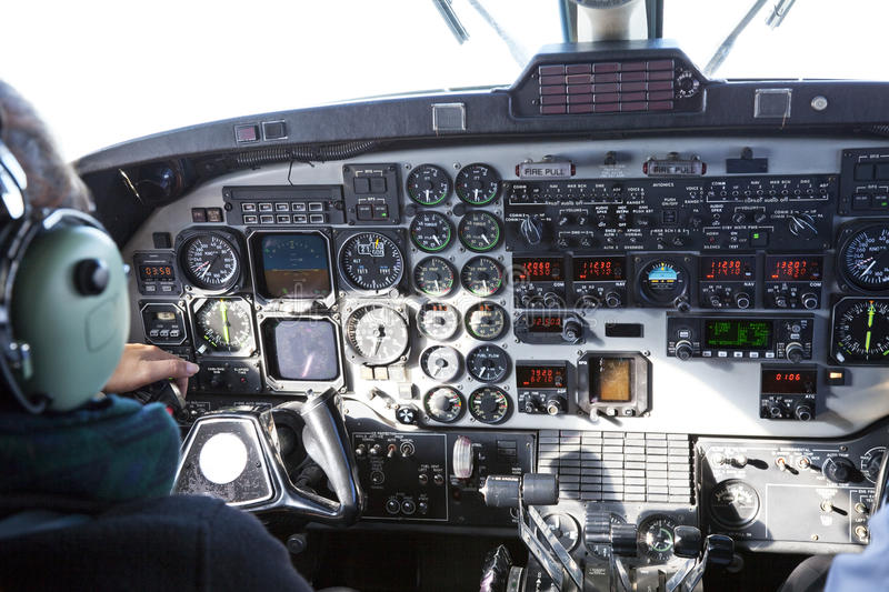 Aircraft Cockpit stock image