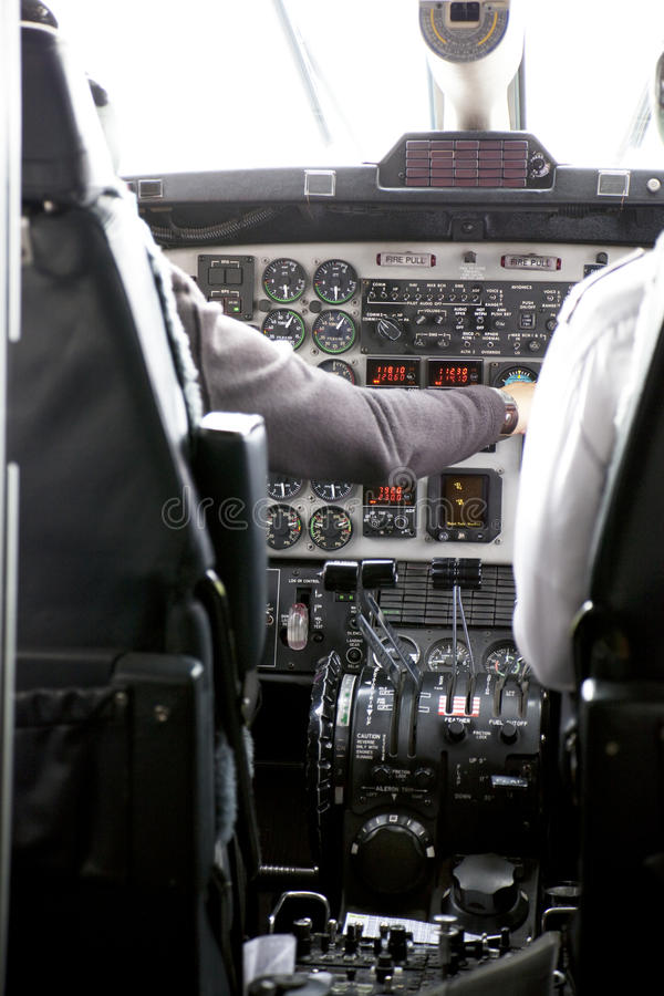 Aircraft Cockpit. Image of the pilot's cockpit and flight controls royalty free stock image