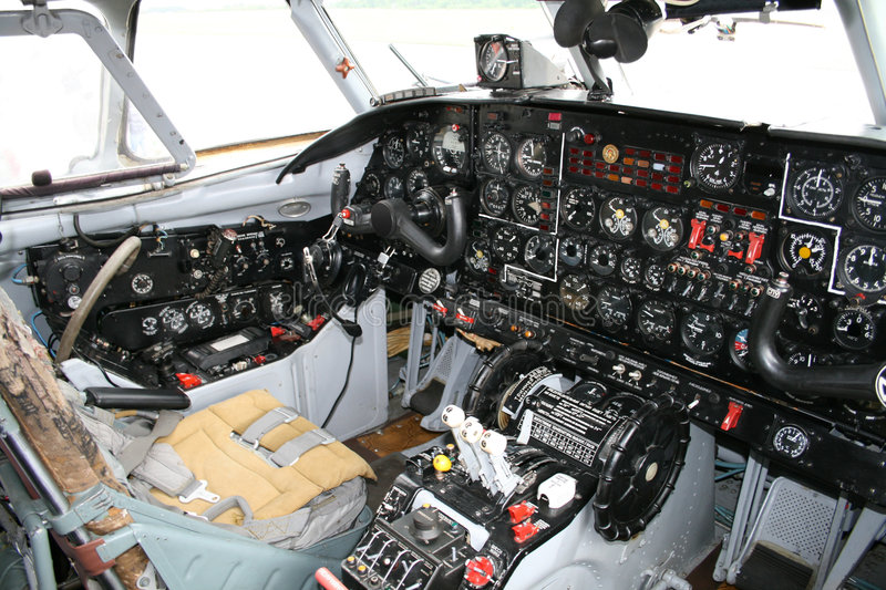 Aircraft cockpit royalty free stock photography