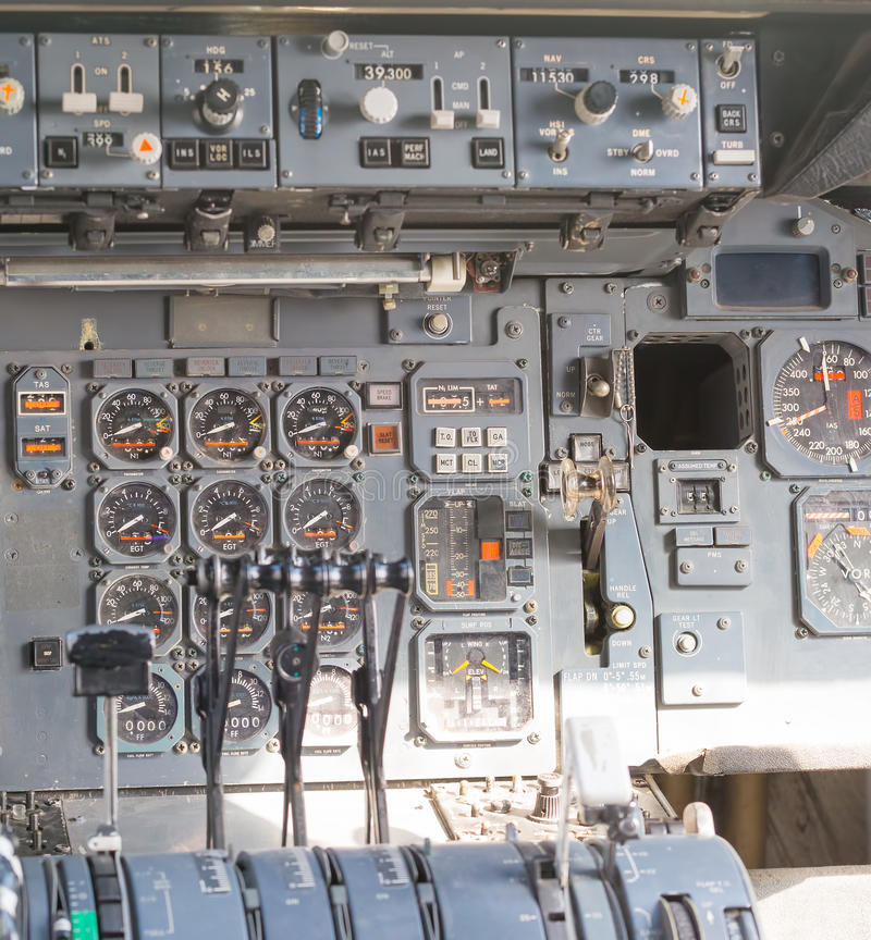 Aircraft cockpit dials. And switches royalty free stock photography