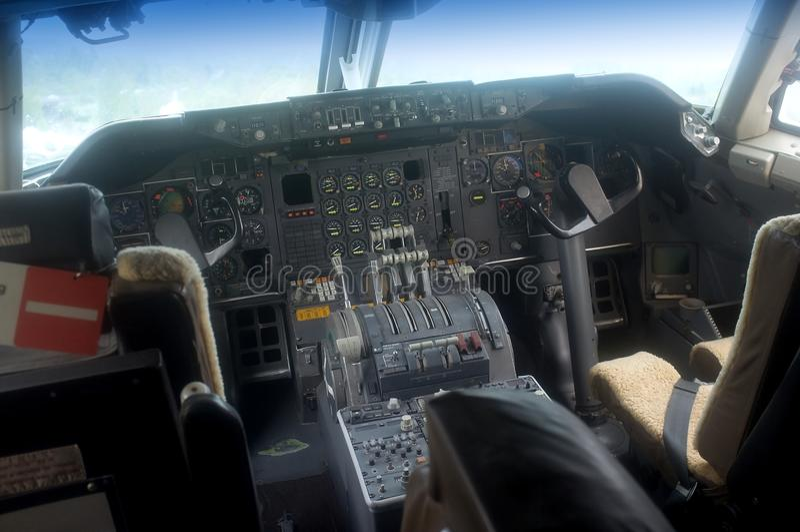 Aircraft cockpit interior stock photography