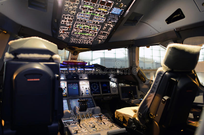 Aircraft cockpit interior. Modern jet aircraft cockpit interior royalty free stock photos