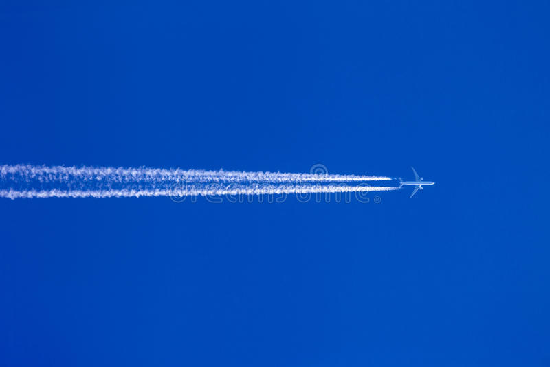 Download Aircraft contrails stock image. Image of pollution, blue - 27340865