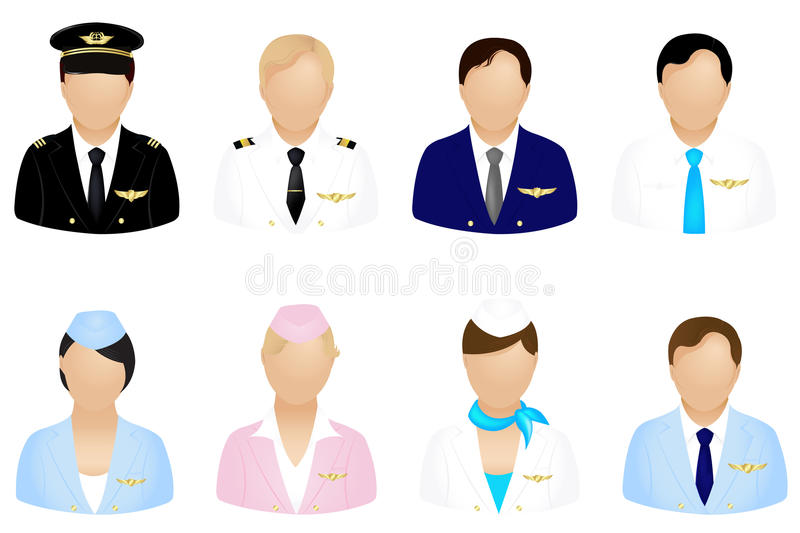 Aircraft Crew Icons. Vector stock illustration
