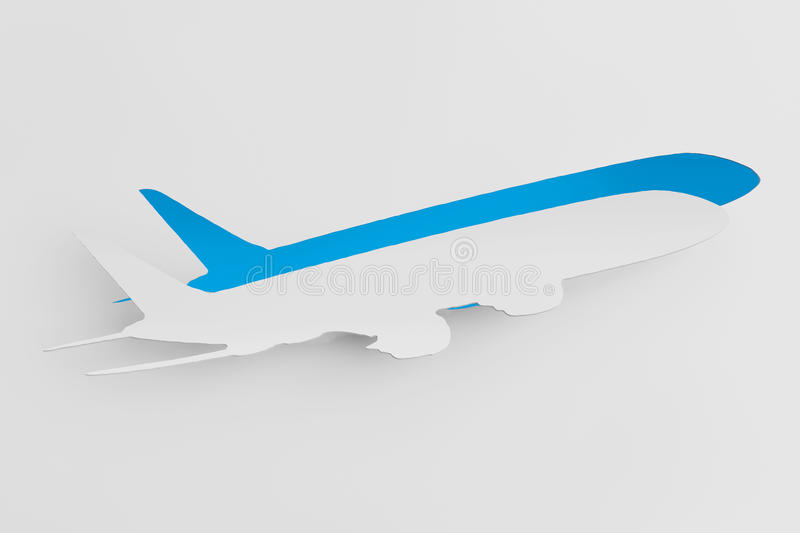 Aircraft cut from paper as sticker. Transportation Concept. Aircraft cut from paper as sticker stock illustration