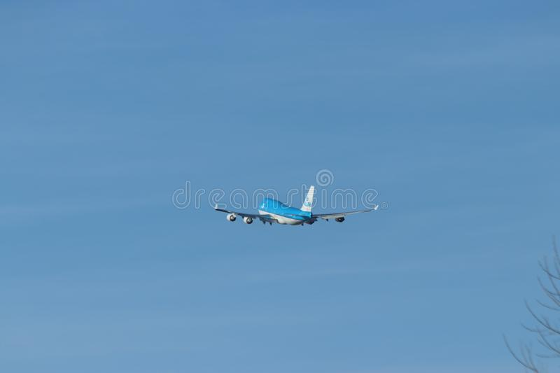 Aircraft is departing from the 06 – 24 Kaagbaan at Amsterdam Schiphol Airport PH-BFG KLM Royal Dutch Airlines Boeing 747-406. royalty free stock photography