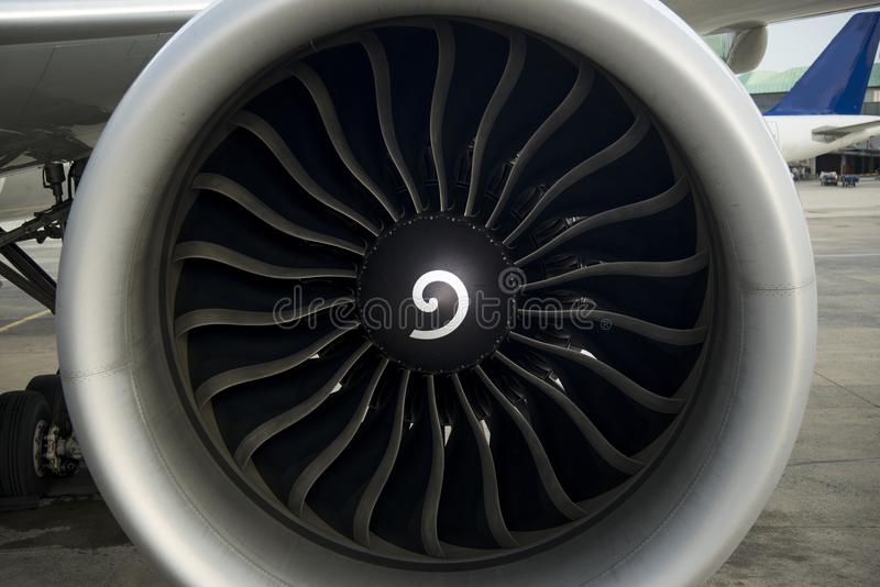Aircraft engine close up shot. Aircraft engine and propeller close up shot royalty free stock image