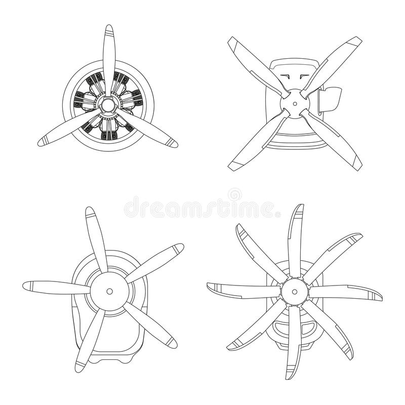 Aircraft engine in outline style. Contour drawing of motor with propeller on white background. Vector illustration stock illustration