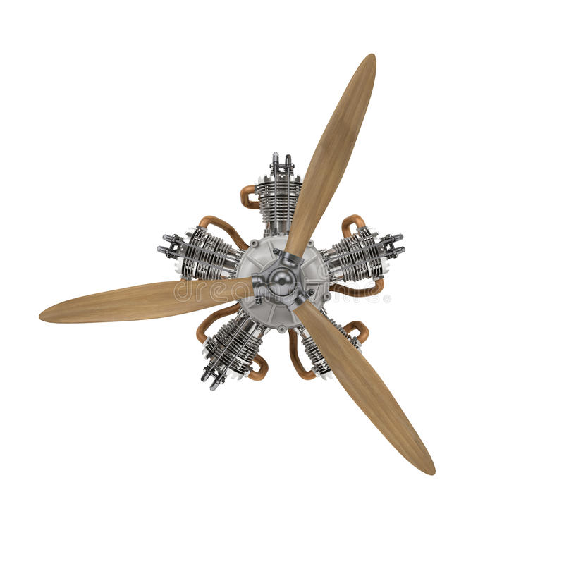 Aircraft engine with propeller vector illustration