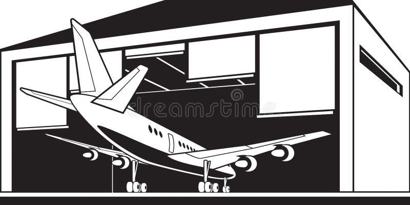 Aircraft enter hangar at airport. Vector illustration vector illustration