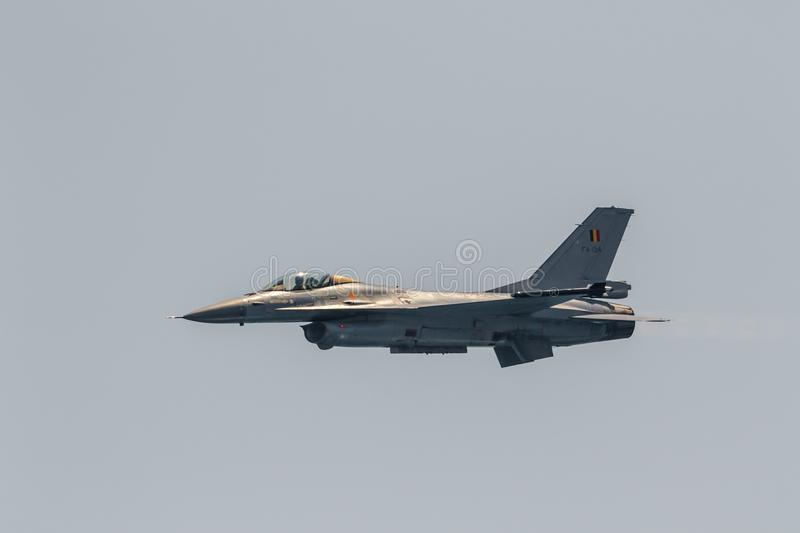 Aircraft F-16 Belgian solo display royalty free stock photography