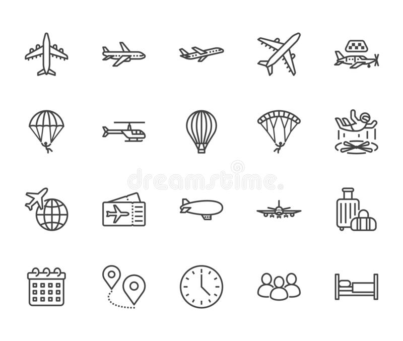 Aircraft flat line icons set. Airplane, helicopter, air taxi, skydiving, balloon, aero tube, paragliding vector royalty free illustration