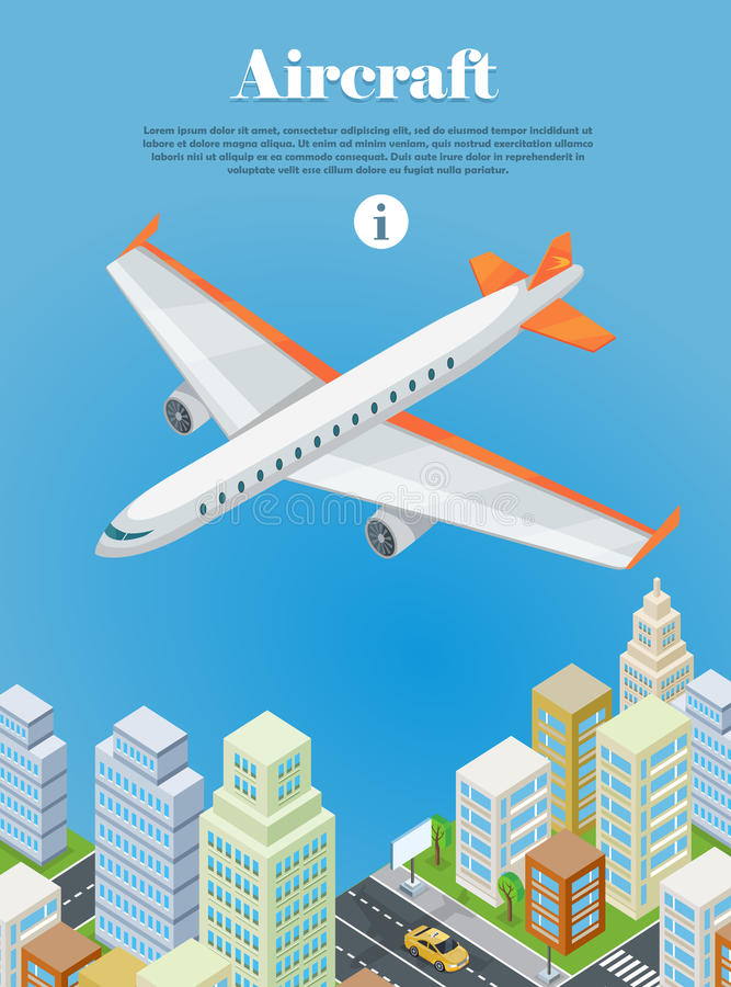 Aircraft Flying Over the City Web Banner. Vector royalty free illustration