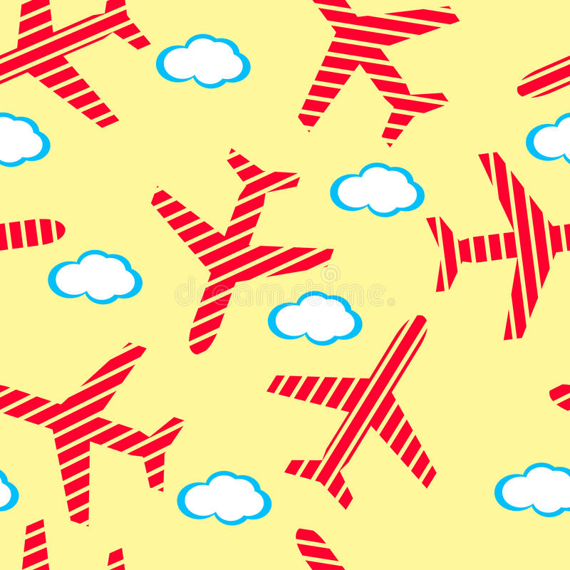 Aircraft flying in the sky with clouds. stock illustration