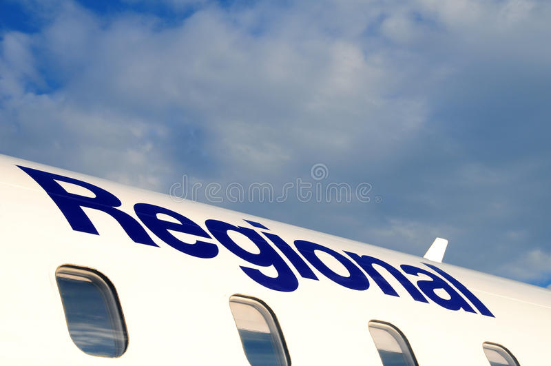 Aircraft fuselage. Details of the fuselage of a small, regional jet airliner royalty free stock photo