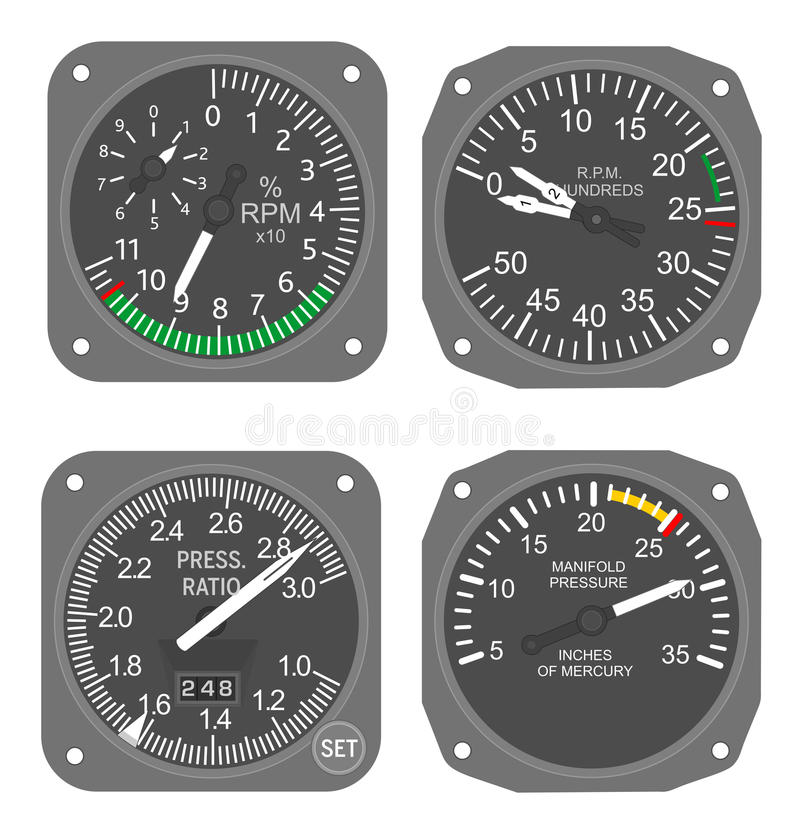 Aircraft gauges (#6). Aircraft Tachometers and Engine Pressure Ratio gauge stock illustration