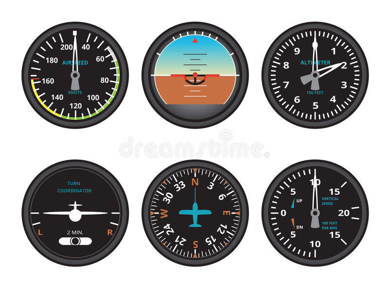 Aircraft gauges. Set of six flight instruments stock illustration