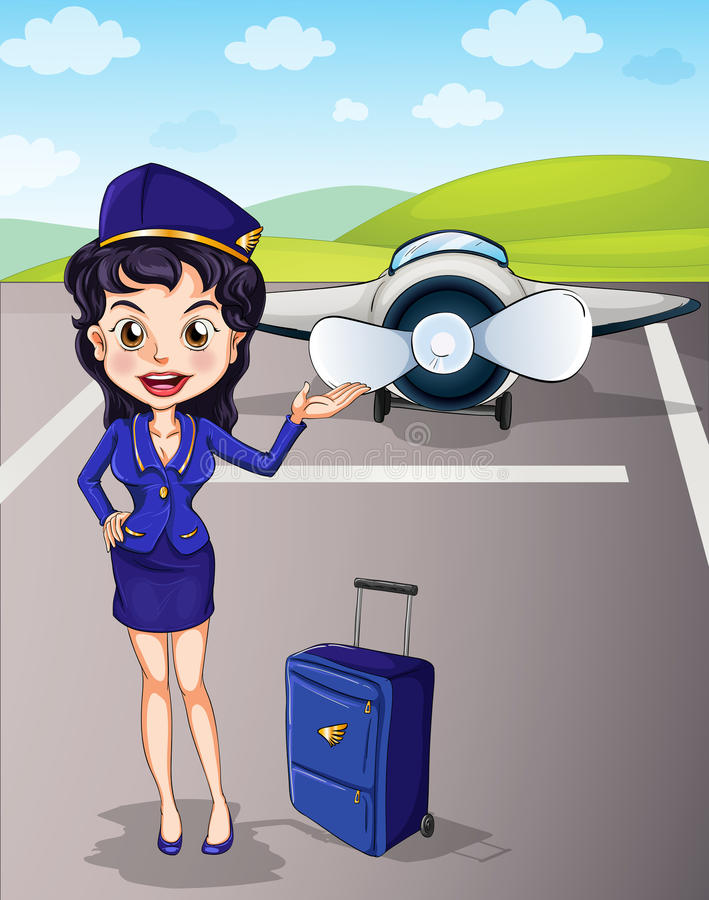 Aircraft and girl with luggage