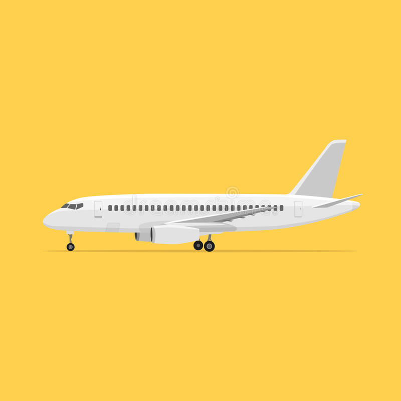 Aircraft is on the ground. White airplane on isolated background. Aircraft is on the ground. Airliner royalty free illustration