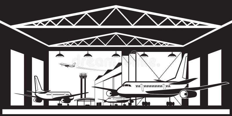 Aircraft hangar at airport vector illustration
