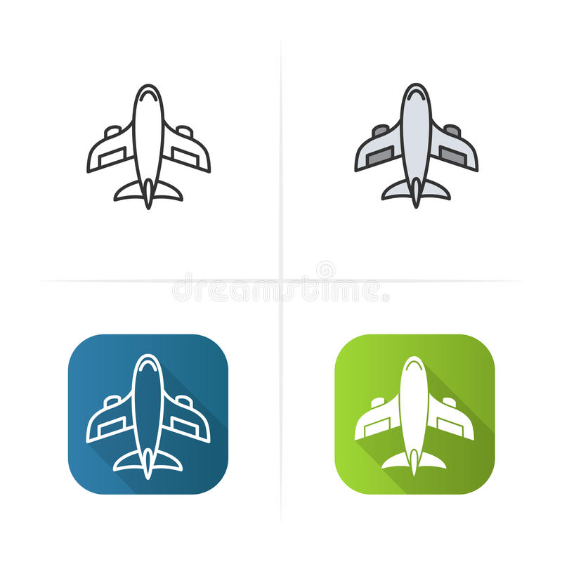 Aircraft icon. Flat design, linear color styles. Isolated vector illustrations. vector illustration