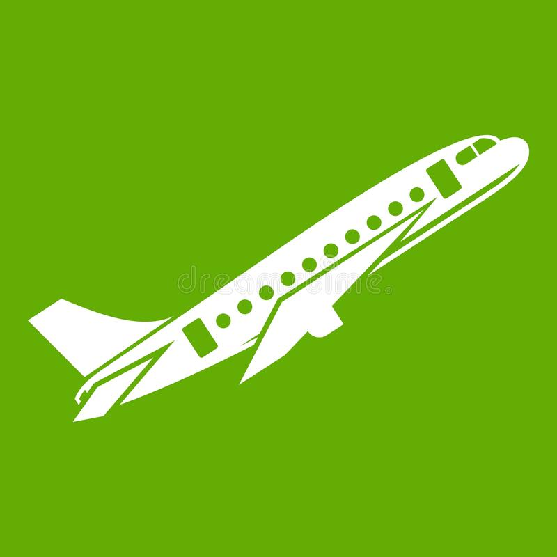 Aircraft icon green. Aircraft icon white isolated on green background. Vector illustration royalty free illustration