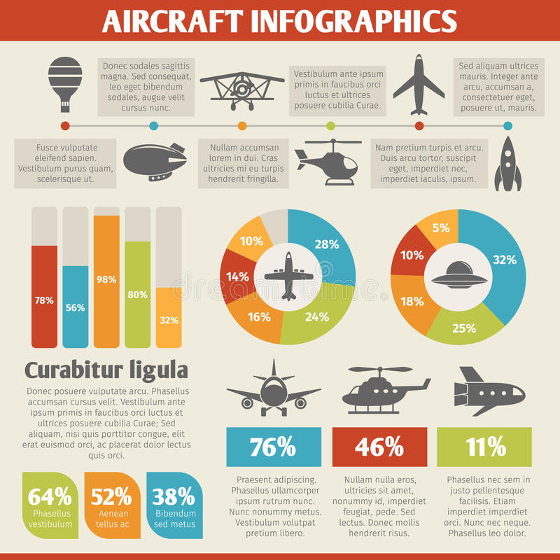 Aircraft icons infographic. Aircraft military and passenger aviation air tourism infographic vector illustration vector illustration