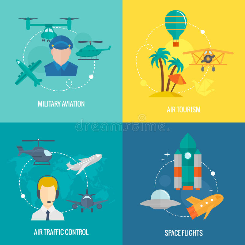Aircraft icons set vector illustration