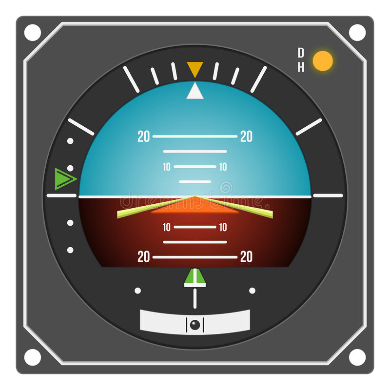 Aircraft instrument - Flight Director Indicator. Aircraft gauge - Flight Director Indicator - Navigation instrument from dashboard isolated on white background vector illustration