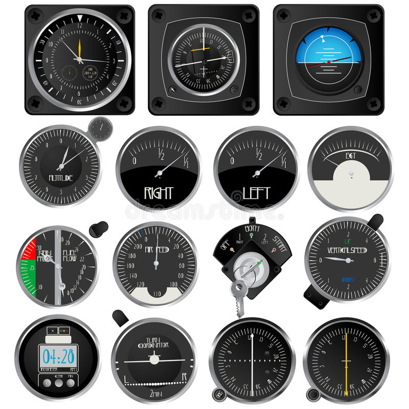 Aircraft Instruments Collection Royalty Free Stock Photos