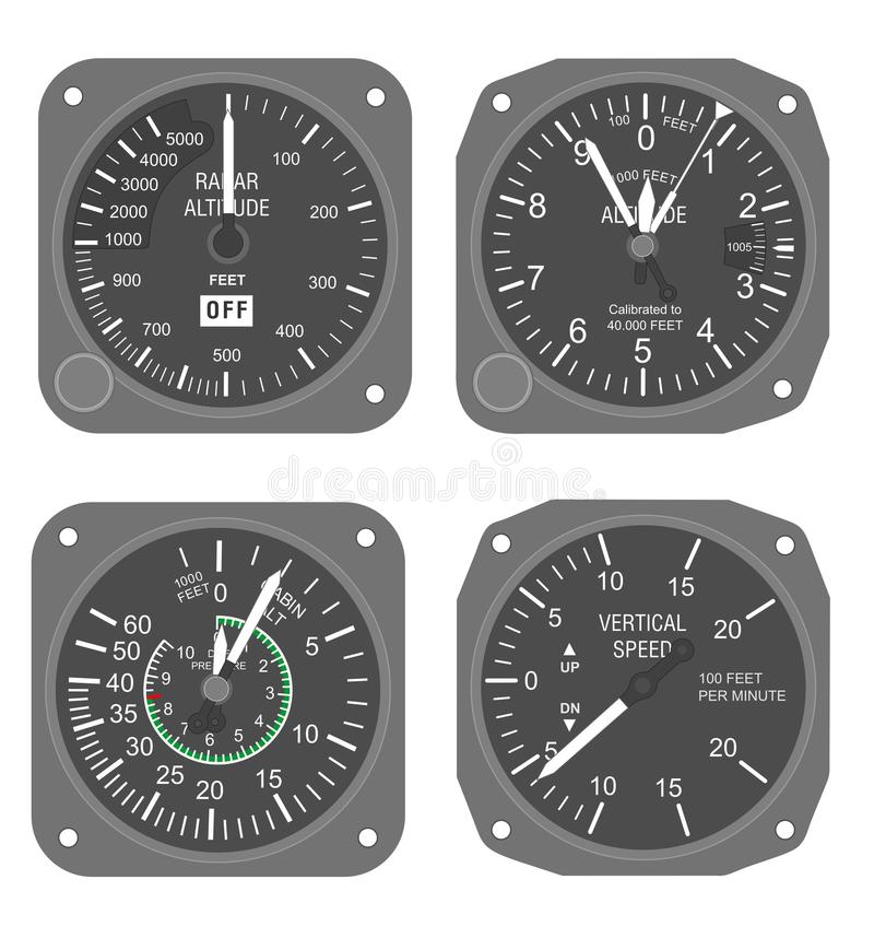 Aircraft instruments set #2. Altimeter and vertical speed indicator stock illustration