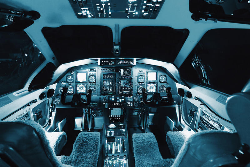 Aircraft interior, cockpit view inside the airliner. Aircraft interior, cockpit view inside turboprop plane stock image