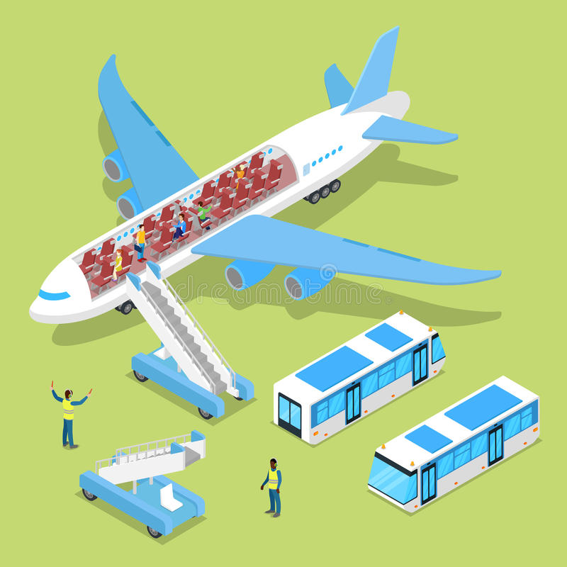 Aircraft Interior with Passengers. Air Plane Boarding. Isometric flat 3d illustration royalty free illustration