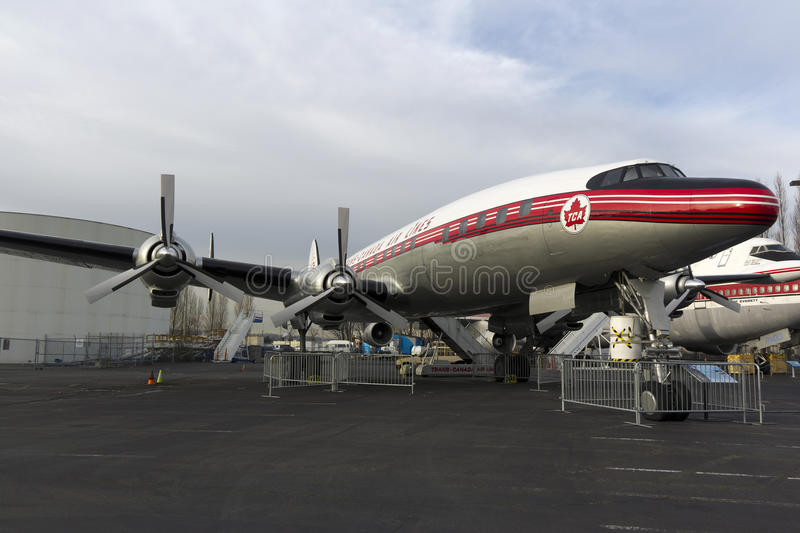 Aircraft before jet age. SEATTLE, WA - JANUARY 12, 2012: a turbo propeller passenger aircraft before jet age is on display outdoors at the museum of flight in stock image