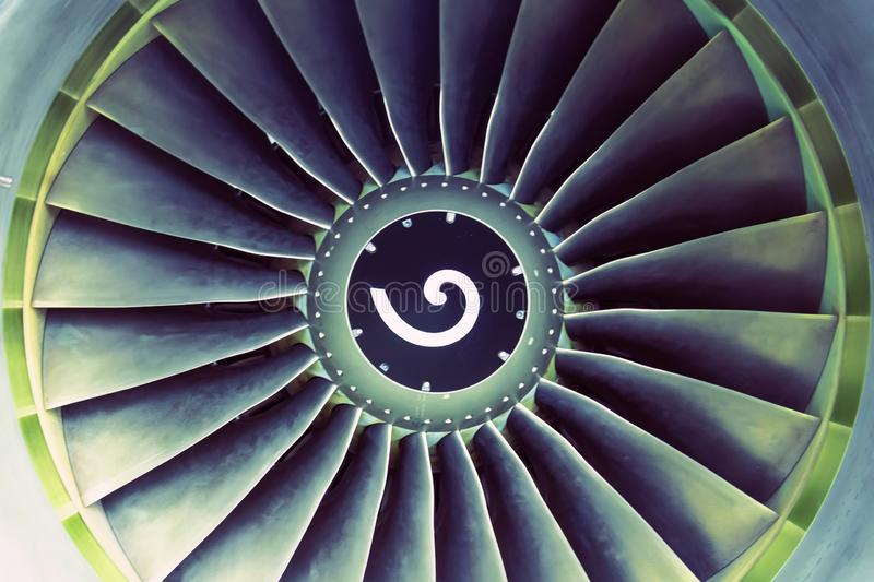 Aircraft jet aviation engine blades view center royalty free stock image