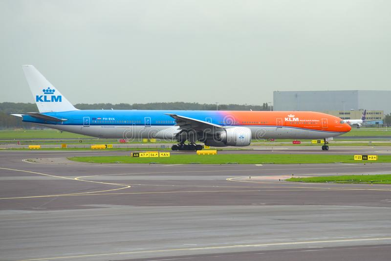 Aircraft KLM Boeing 777-300 PH-BVA on the taxiway of Schiphol airport stock photography