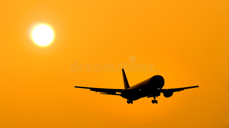 Download Aircraft Landing stock image. Image of glow, abroad, backlit - 303077