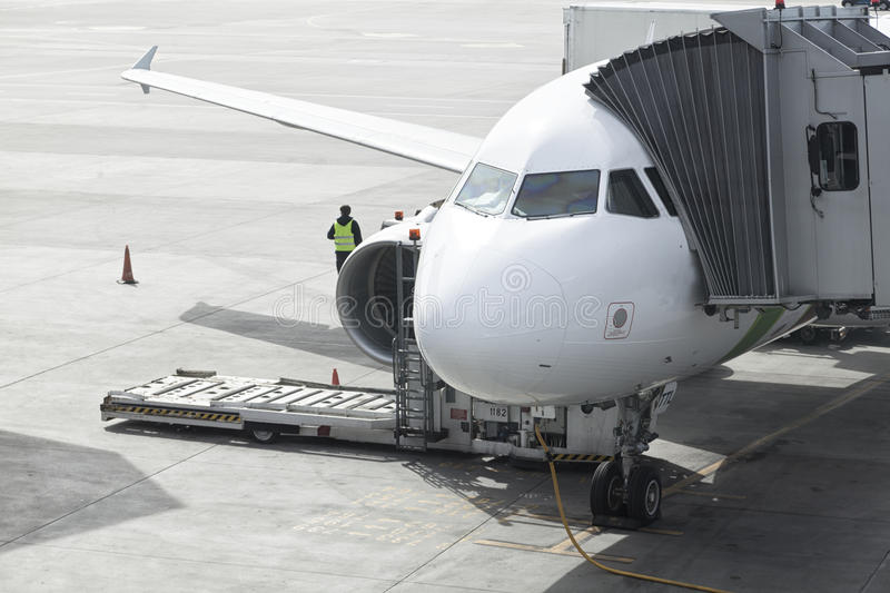 Aircraft At The Loading Gate stock photography