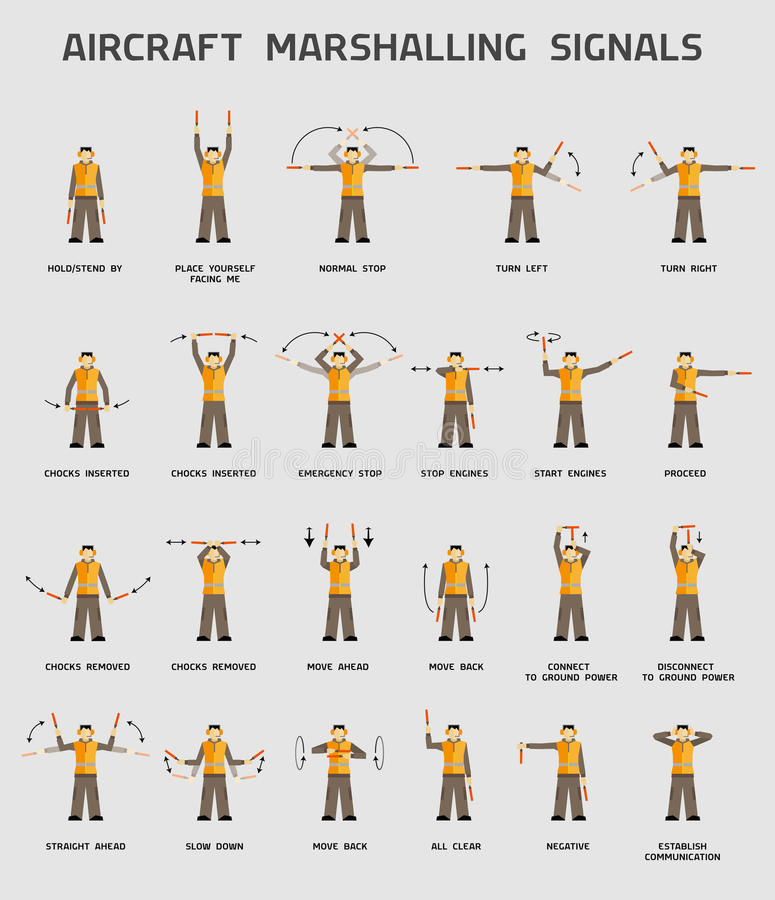 Aircraft marshalling signals vector illustration