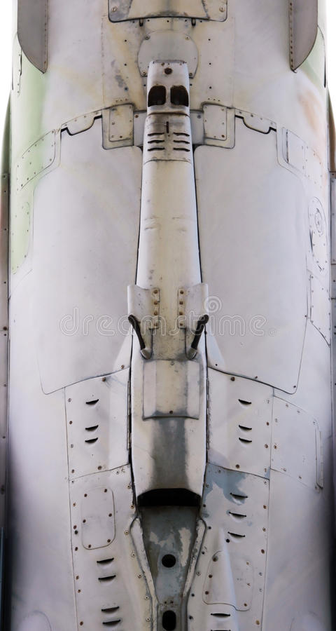 Aircraft metal surface with aluminum and rivets. Gatchina, RUSSIA : The supersonic Plane established in honor of pilot Efimov in an area where used to be Russia' stock image