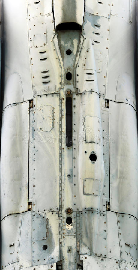 Aircraft metal surface with aluminum and rivets. Gatchina, RUSSIA : The supersonic Plane established in honor of pilot Efimov in an area where used to be Russia' royalty free stock images