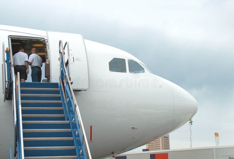 Aircraft nose. A nose of a aircraft. Showing loading stairs stock photography