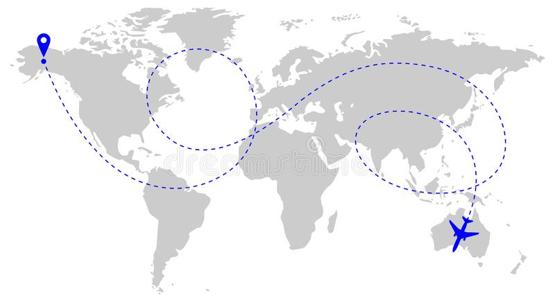 Aircraft route over world royalty free illustration