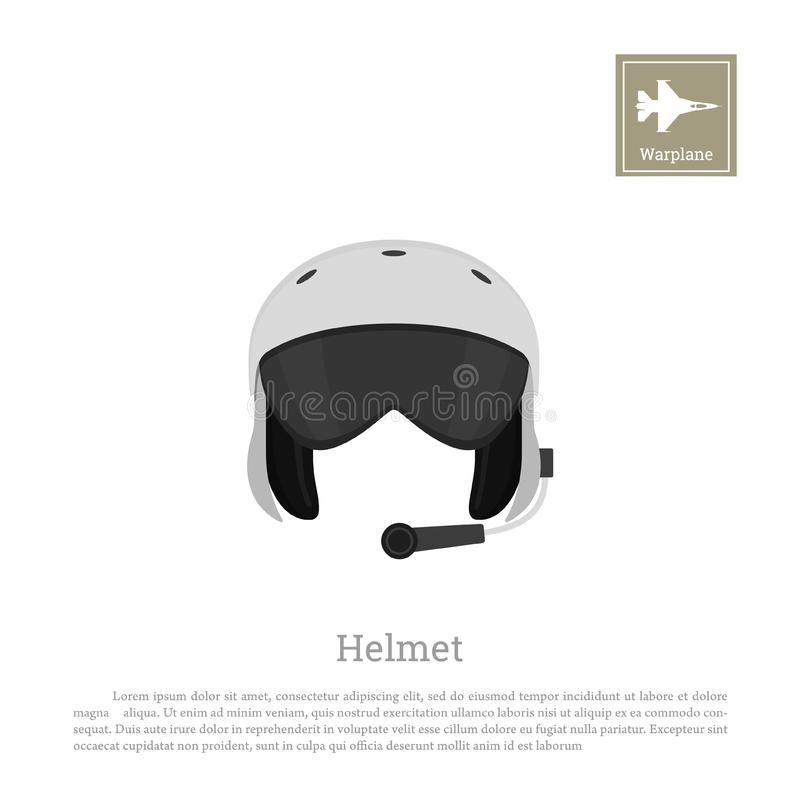 Aircraft pilot`s helmet. Military aviator equipment vector illustration