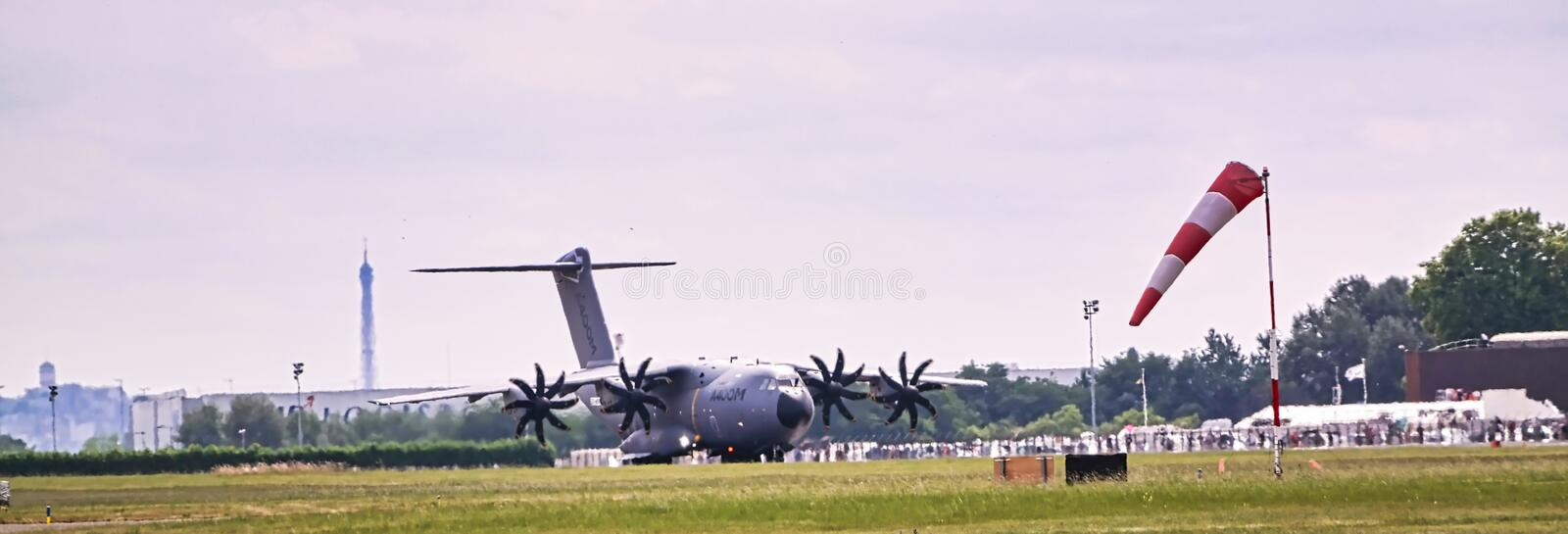 Aircraft Plane flight waiting for take off at international french meeting at Le Bourget. PARIS, FRANCE - JUNE 24, 2017 - Aircraft Plane flight waiting for take royalty free stock image